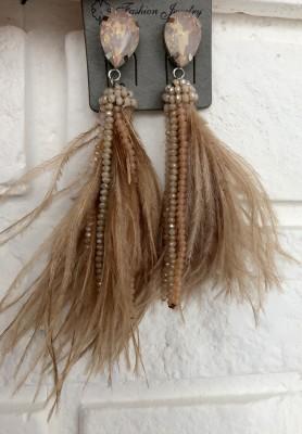 Kolczyki Feathers Beż