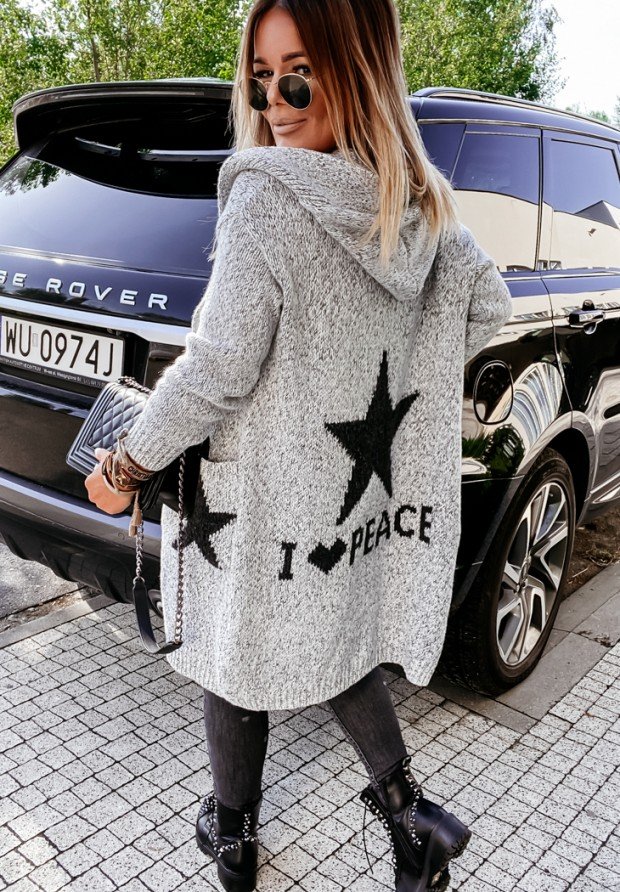 Sweter Kardigan Cocomore I Love Peace Grey
