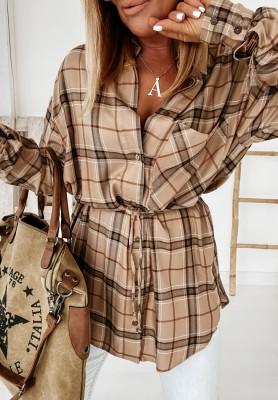 Sukienka Koszula Karta Autumn Camel