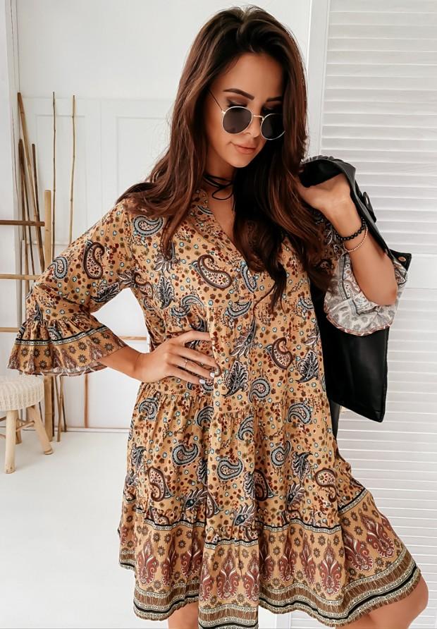 Sukienka Leandra Black&Camel