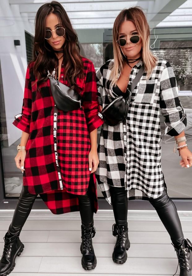 Sukienka Koszula Krata Yvonne Red&Black