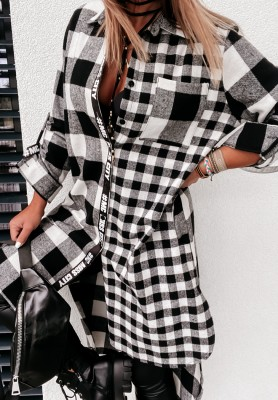 Sukienka Koszula Krata Yvonne White&Black