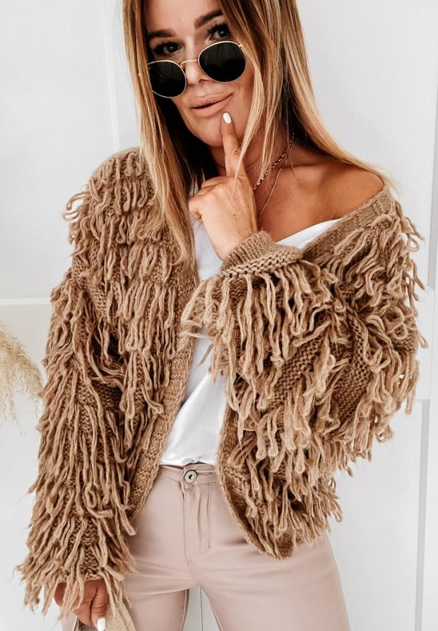 Sweter Kardigan Fringe Camel