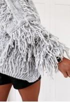 Sweter Kardigan Fringe Grey