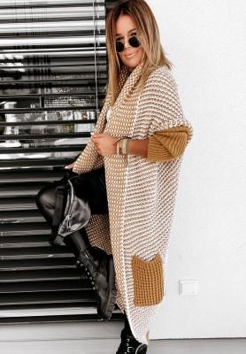 Sweter Kardigan Moi II Camel&White