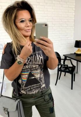 1385 T-Shirt  Badass Girl Grey