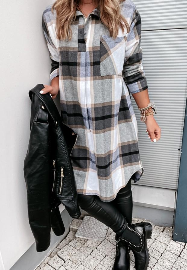 Koszula Sukienka Krata Adana Grey