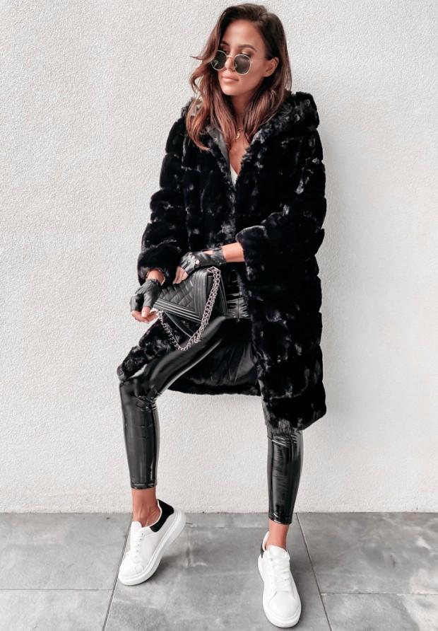 Płaszcz Futro Therese Black