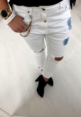 269 Spodnie Patches Białe