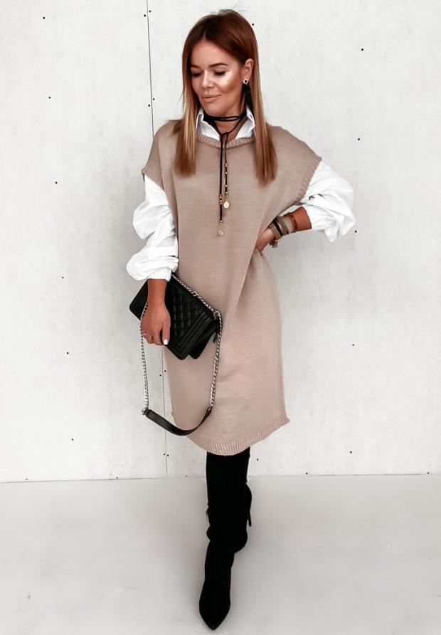 Sukienka Kamizelka Novelio Camel