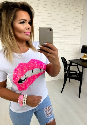 107 T-shirt Pink Lips Biała