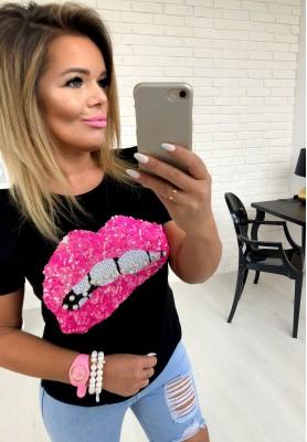 107 T-shirt Pink Lips Czarna