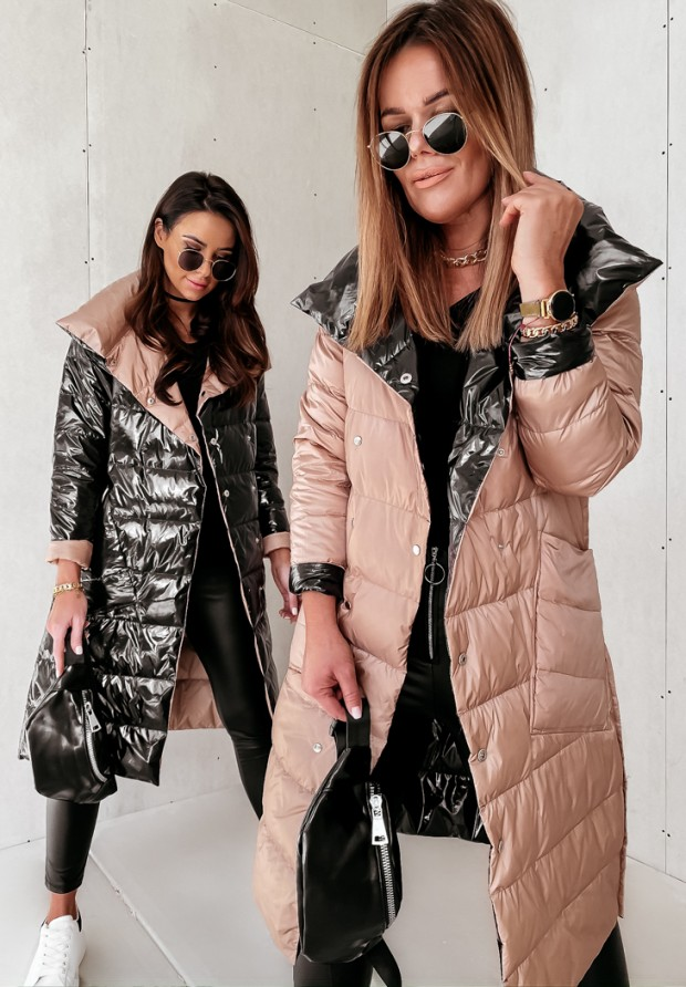 Płaszcz Dwustronny Cover Shine Black&Camel