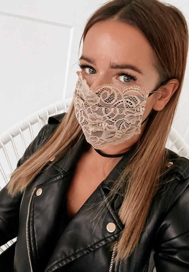 Maska Koronka Beige