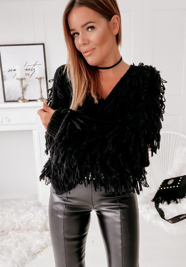 Sweter Kardigan Fringe  Black