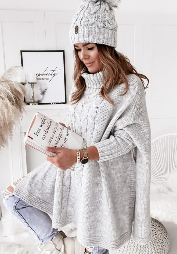 Sweter Ponczo Tarina Grey