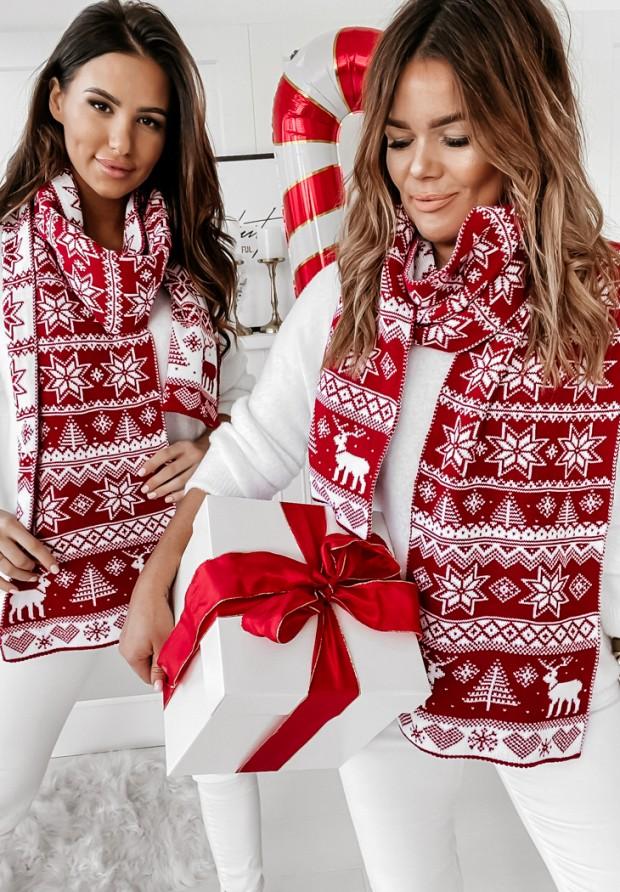 Szal Merry Star Red&White