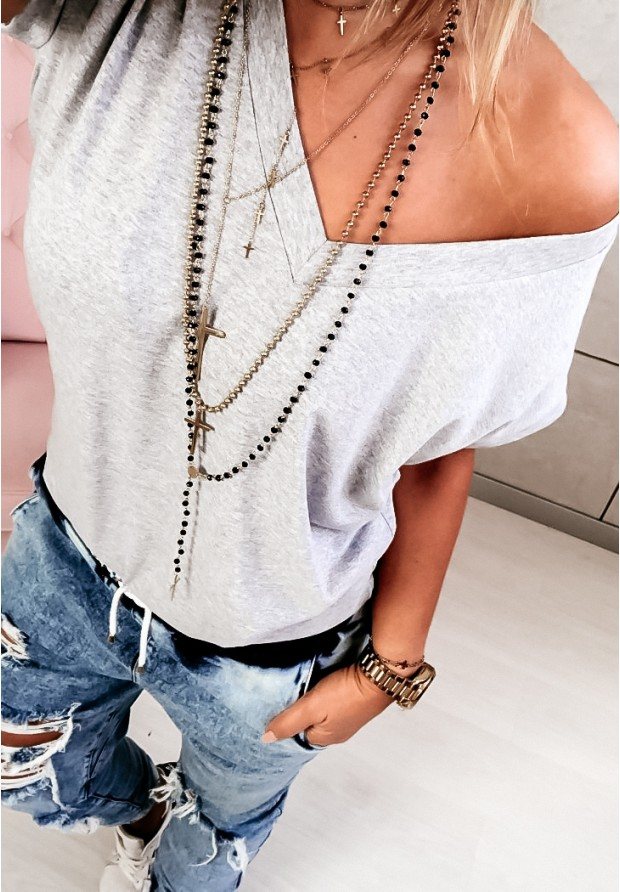 T-shirt V-neck Grey