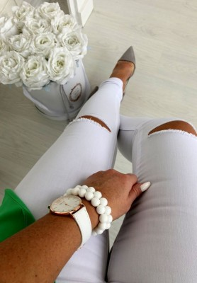 1116-5 Spodnie White Cut