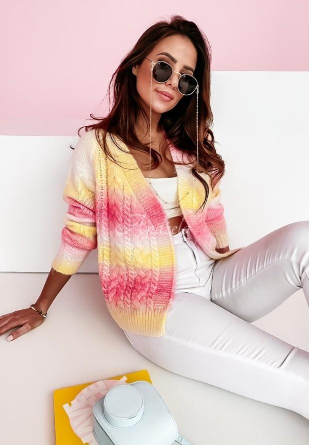 Sweter Kardigan Bianco Yellow&Pink