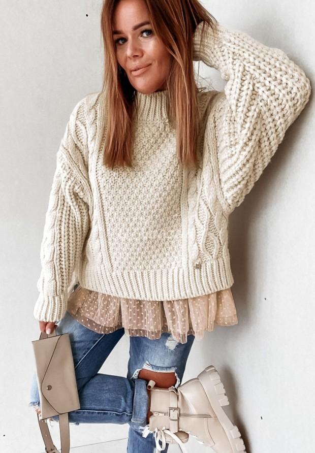 Sweter Cocomore Tiul Molly Ecru&Beige