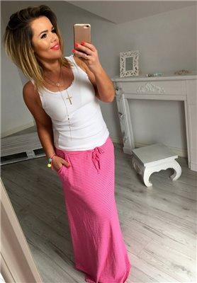 Spódnica Maxi Paski Róż