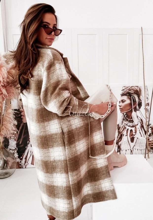 Płaszcz Krata Edvige Camel&Beige
