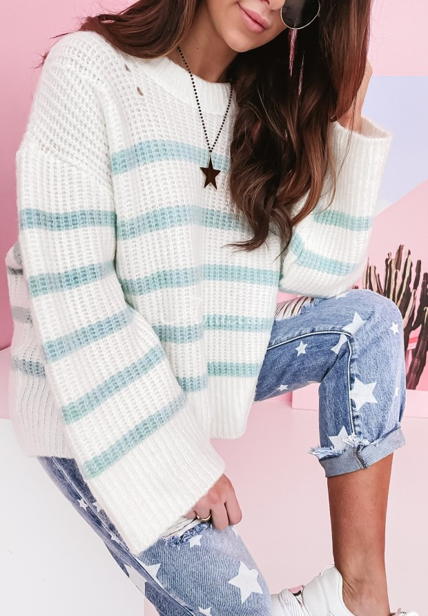 Sweter Messa White&Mint