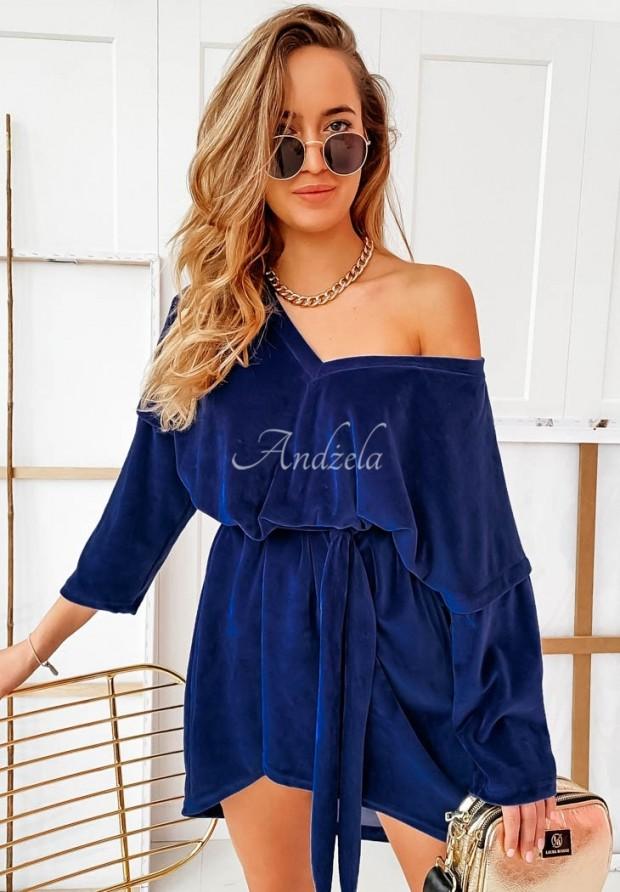 Sukienka Tunika Welur Elda Dark Blue