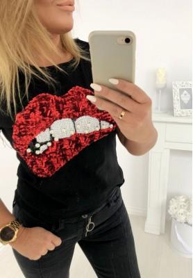 107 T-shirt Red Lips Czarna