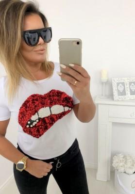 107 T-shirt Red Lips Biała