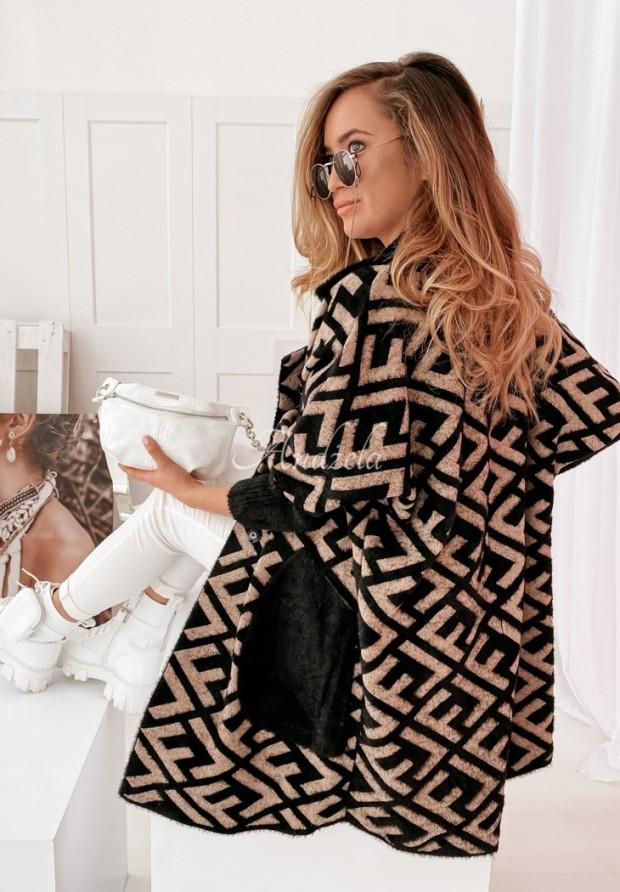 Płaszcz Alpaka Liore Black&Camel