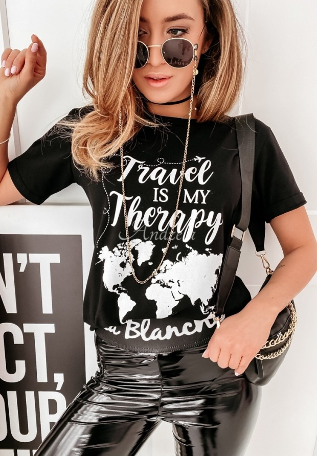 T-shirt Travel Therapy Black