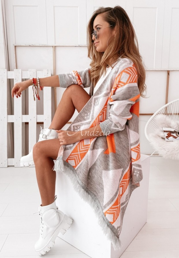 Sweter Kardigan Geovita Grey&Orange