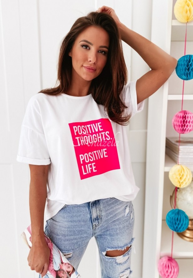 T-shirt Positive Life White