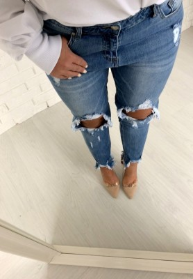 3219 Spodnie Boyfriend Jeans Scraggy