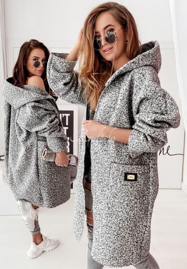 Płaszcz Oversize Leya Melanż Dark Grey
