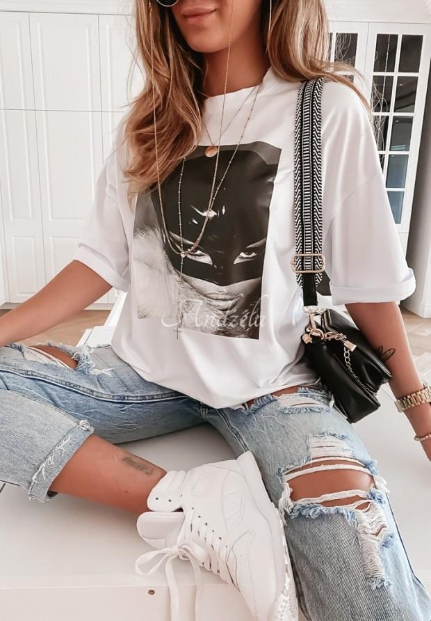 T-shirt Cat Woman White
