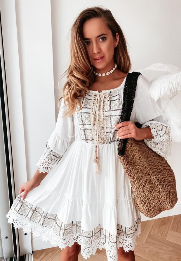 Sukienka Boho Treya Ecru