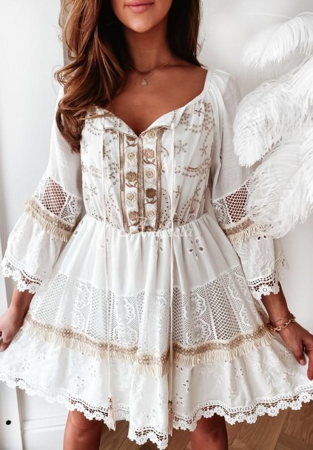 Sukienka Boho Rivetta Ecru