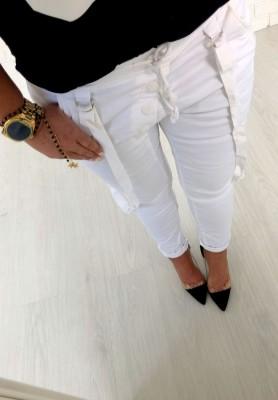 8162 Spodnie Bojówki Famous Białe
