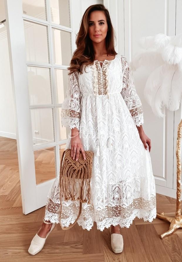 Sukienka Boho Coraldo Ecru