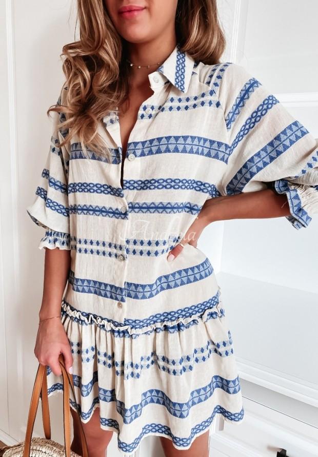 Sukienka Carlina Aztek Ecru&Blue