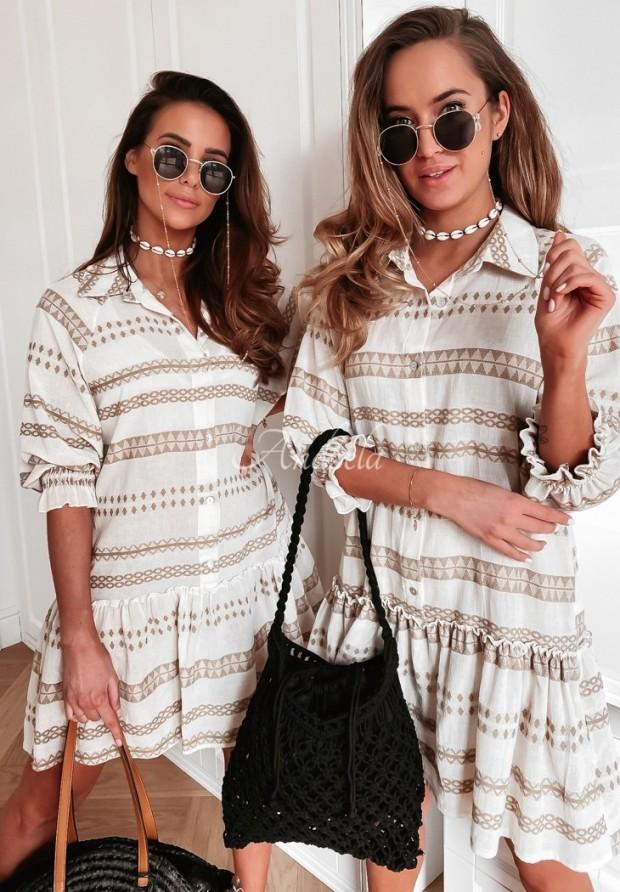 Sukienka Carlina Aztek Ecru&Beige