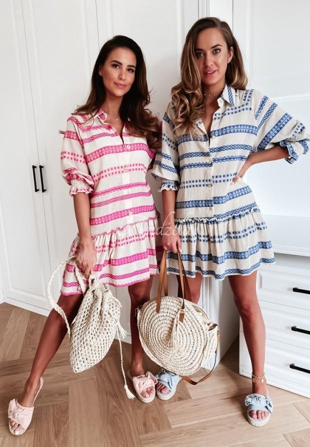 Sukienka Carlina Aztek Ecru&Pink