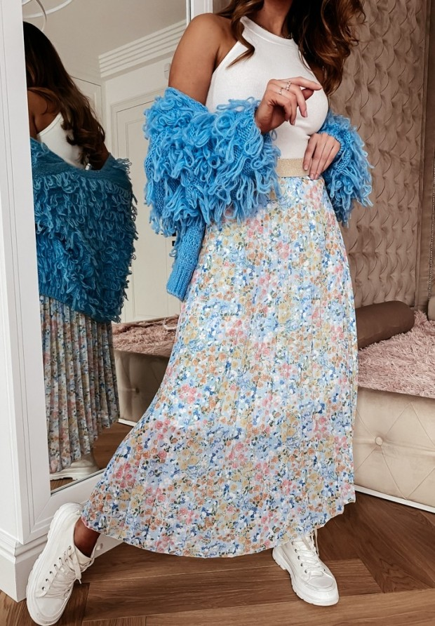 Spódnica Plisa Franella Baby Blue