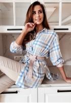 Koszula Sukienka Krata La Vista Blue&Nude