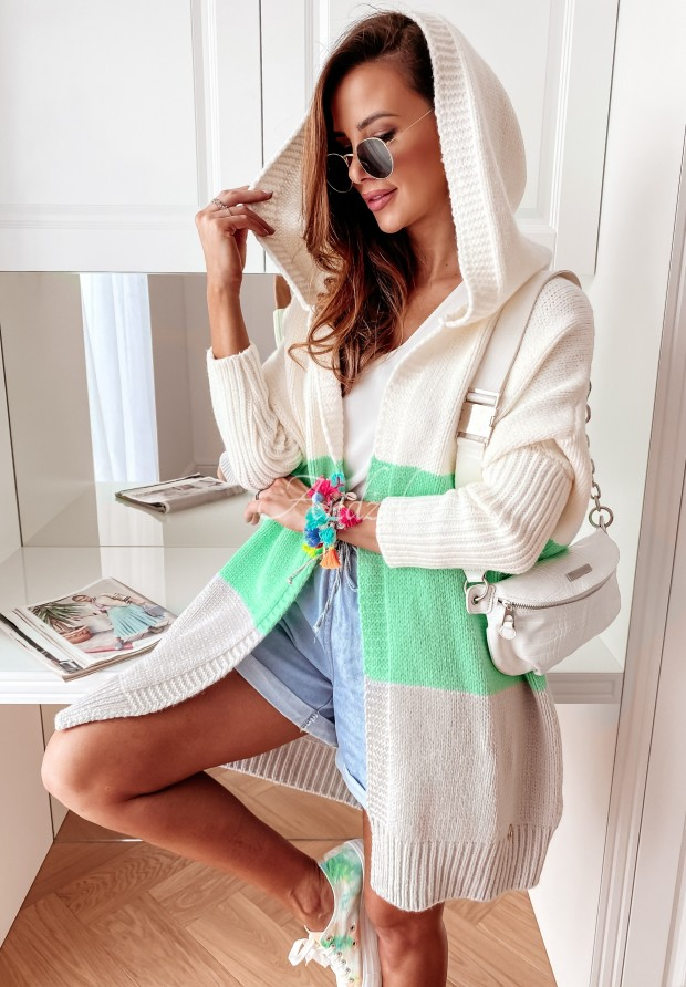 Sweter Kardigan Cocomore Tersia Ecru&Mint