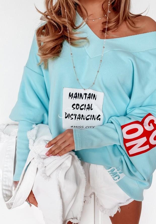Bluza Oversize MC Social Turquoise