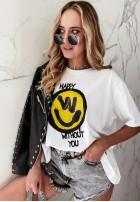 T-shirt Happy White